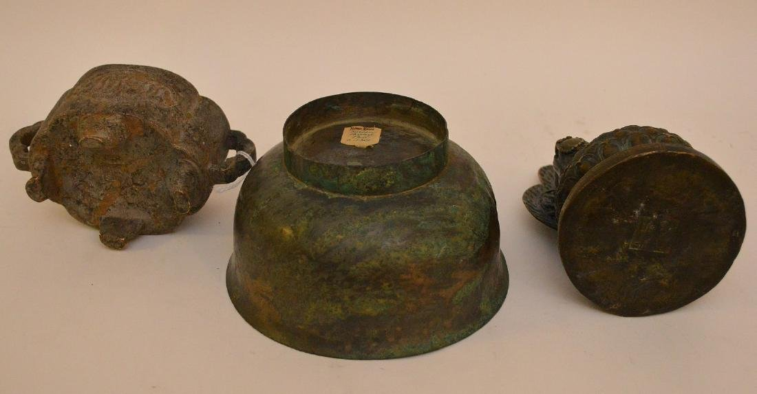 3 Asian Metal Articles.  Chinese Bronze Brush Pot Ht 2 - 6