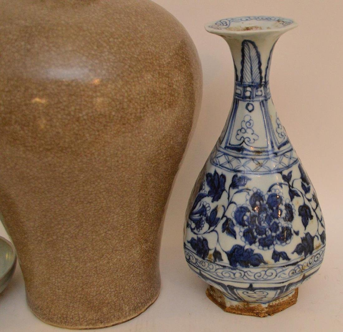 3 Chinese Porcealin Articles.  Porcelain Vase with - 2