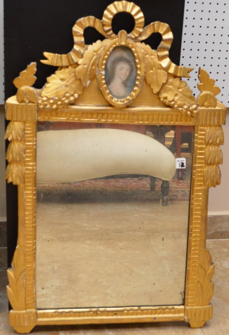French Antique 18th Century Gilt Mirror with Miniature