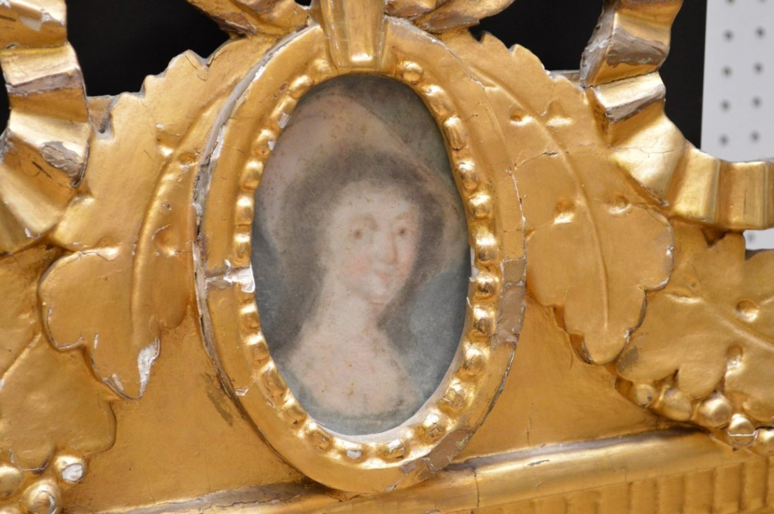 French Antique 18th Century Gilt Mirror with Miniature - 3