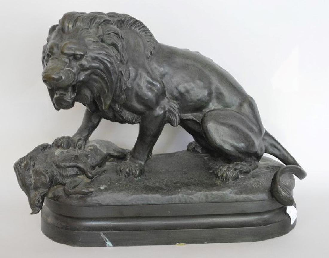 After Alfred Barye (FRENCH, 1839–1882) Bronze Lion