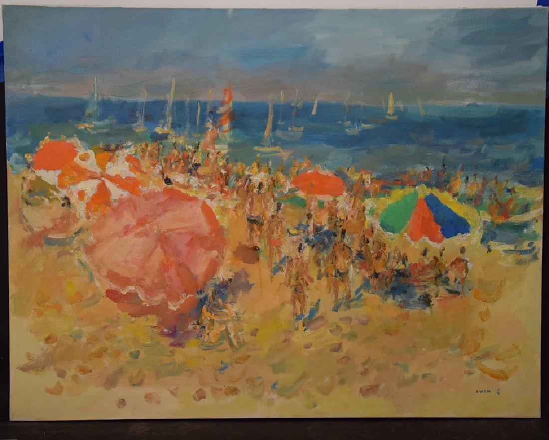 20th Century French Large oil on canvas NOIRMOUNTIERS-