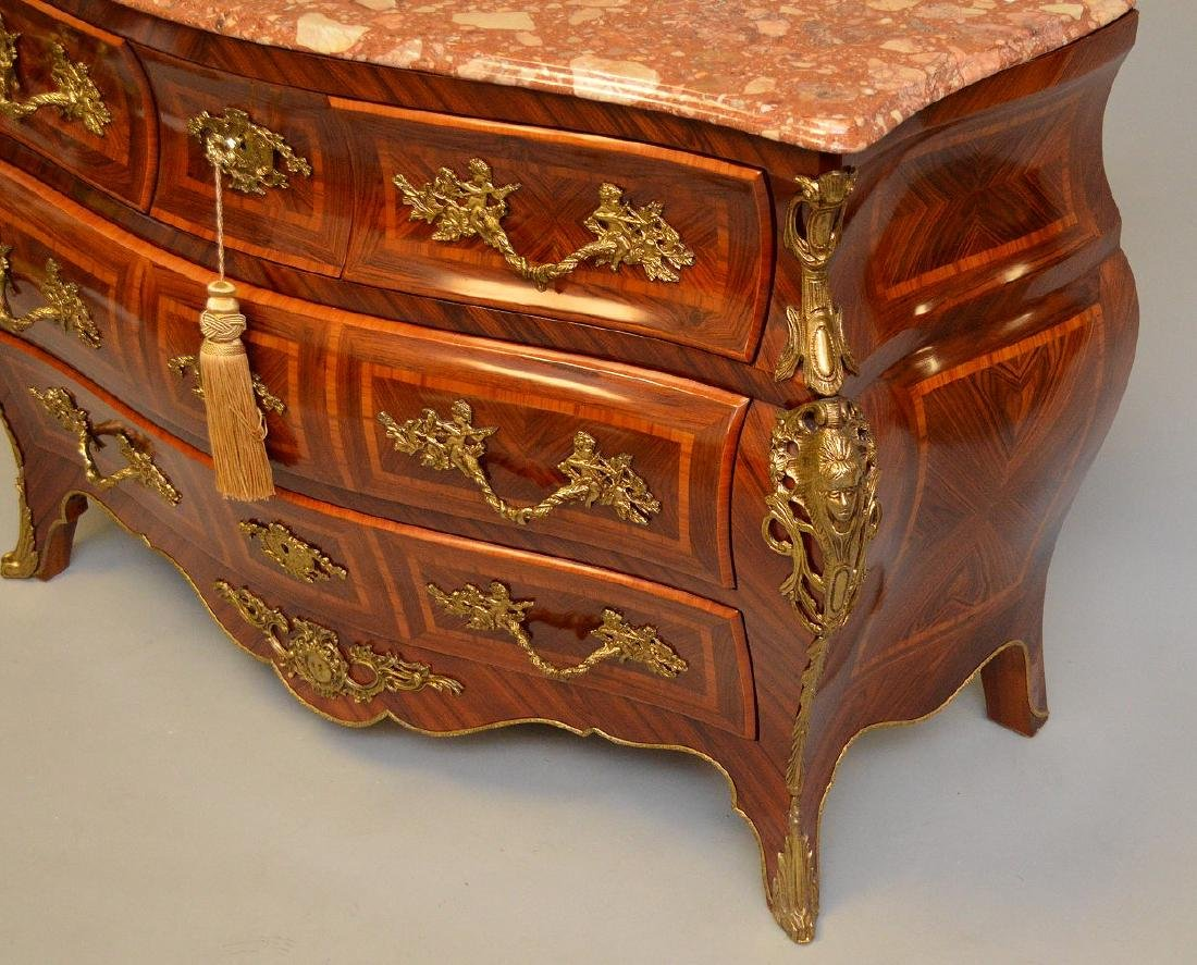 Pair Inlaid Bronze Mounted Commodes each with marble - 8