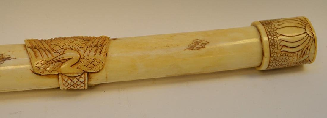Carved & Etched Bone Sword & Sheath.  Condition: good - 4