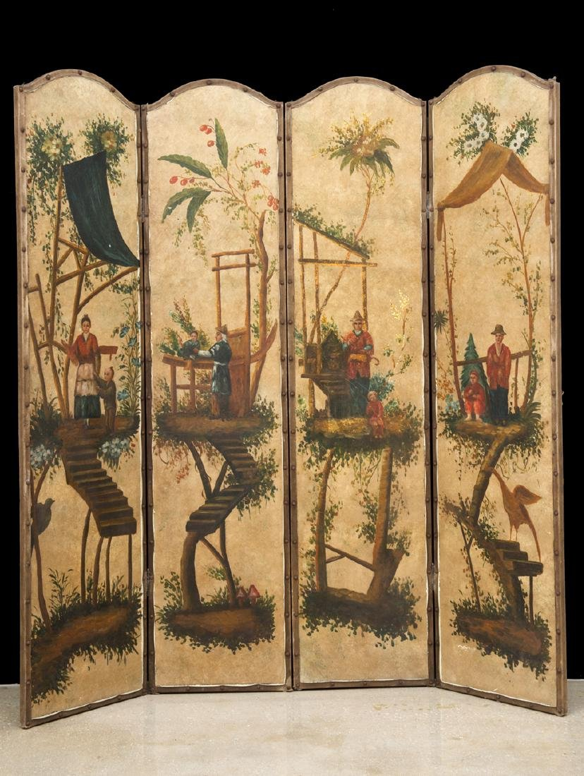 Vintage Chinoiserie Painted Four-Panel Painted Screen