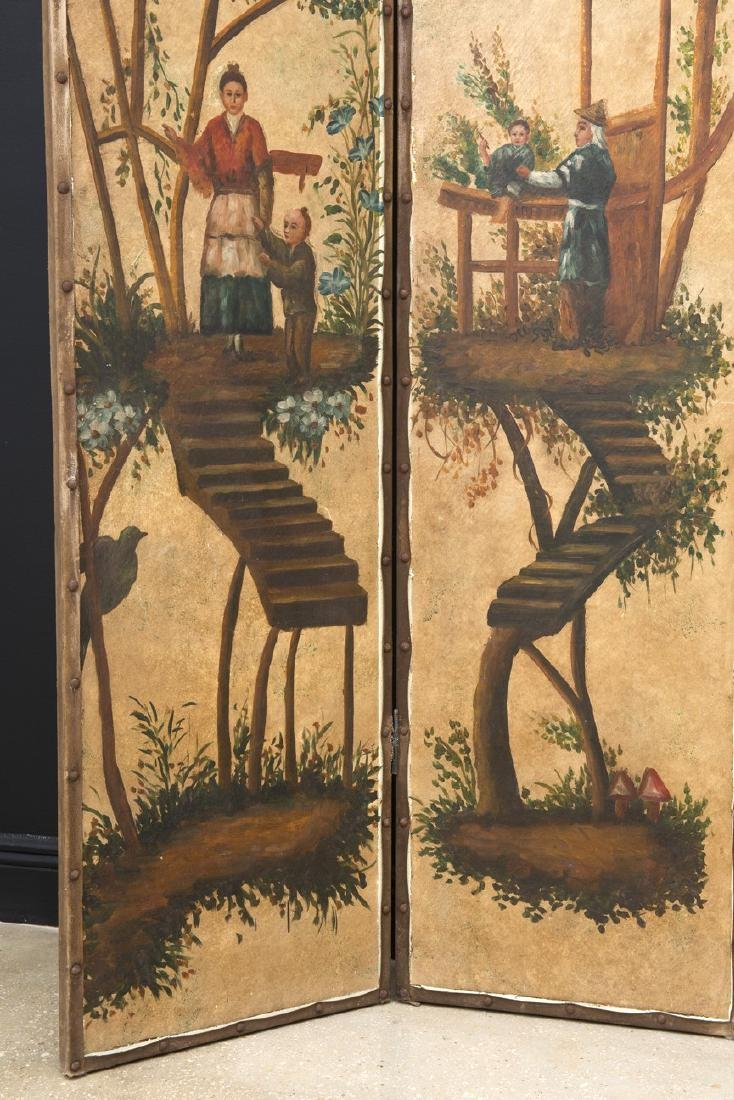 Vintage Chinoiserie Painted Four-Panel Painted Screen - 6