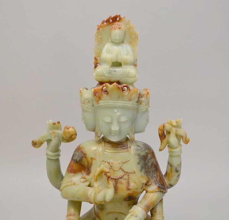 Large celedon jade and soapstone Quan Yin carving - 2