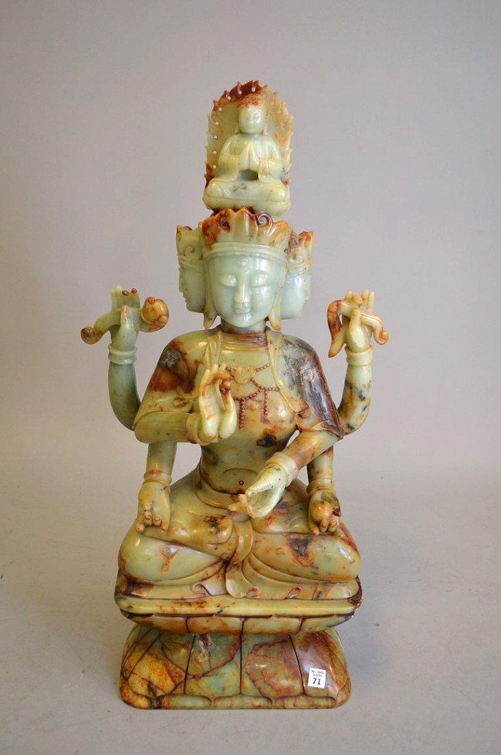 Large celedon jade and soapstone Quan Yin carving - 3
