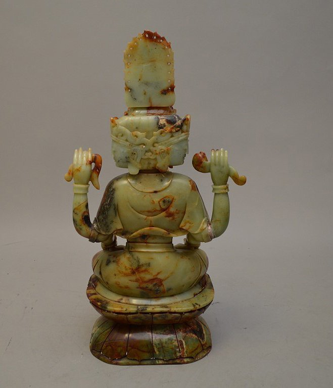 Large celedon jade and soapstone Quan Yin carving - 5