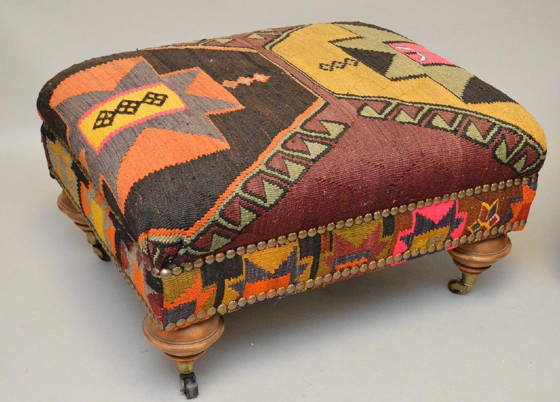 Pair of ottomans in multi color flat weave upholstery, - 2