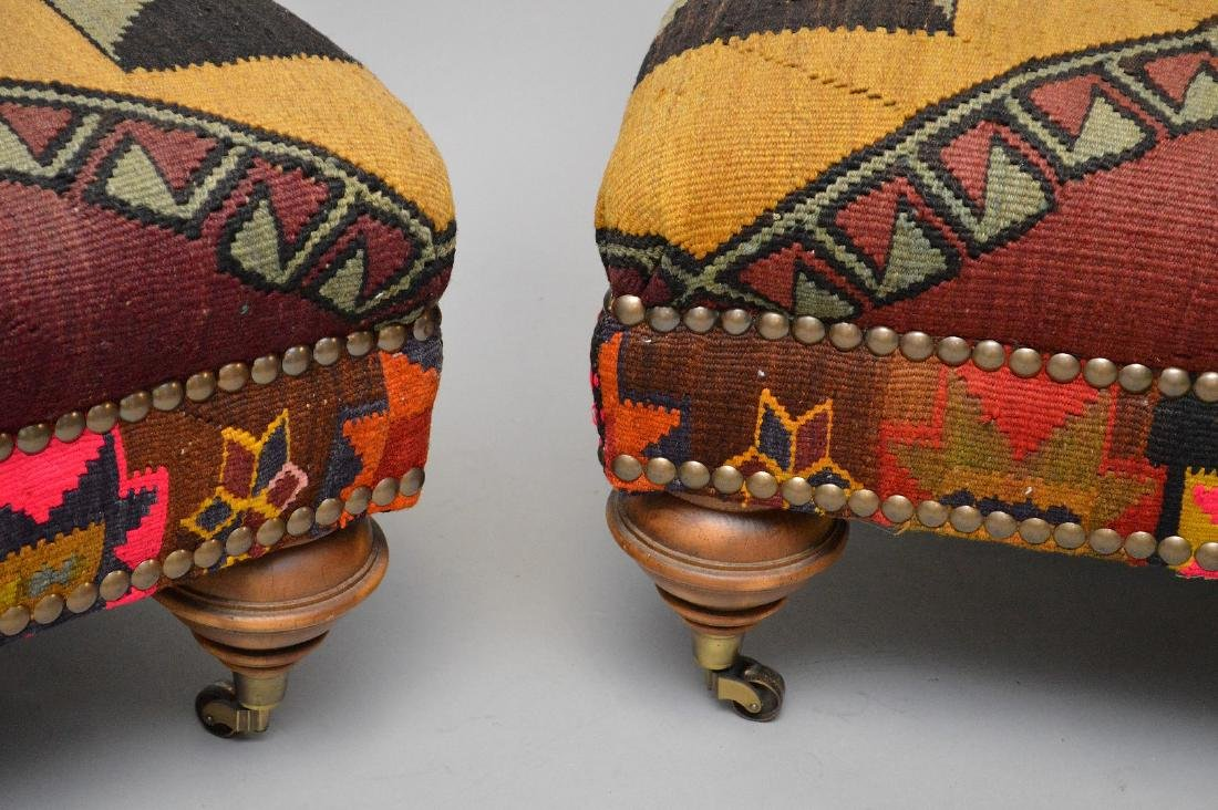Pair of ottomans in multi color flat weave upholstery, - 3