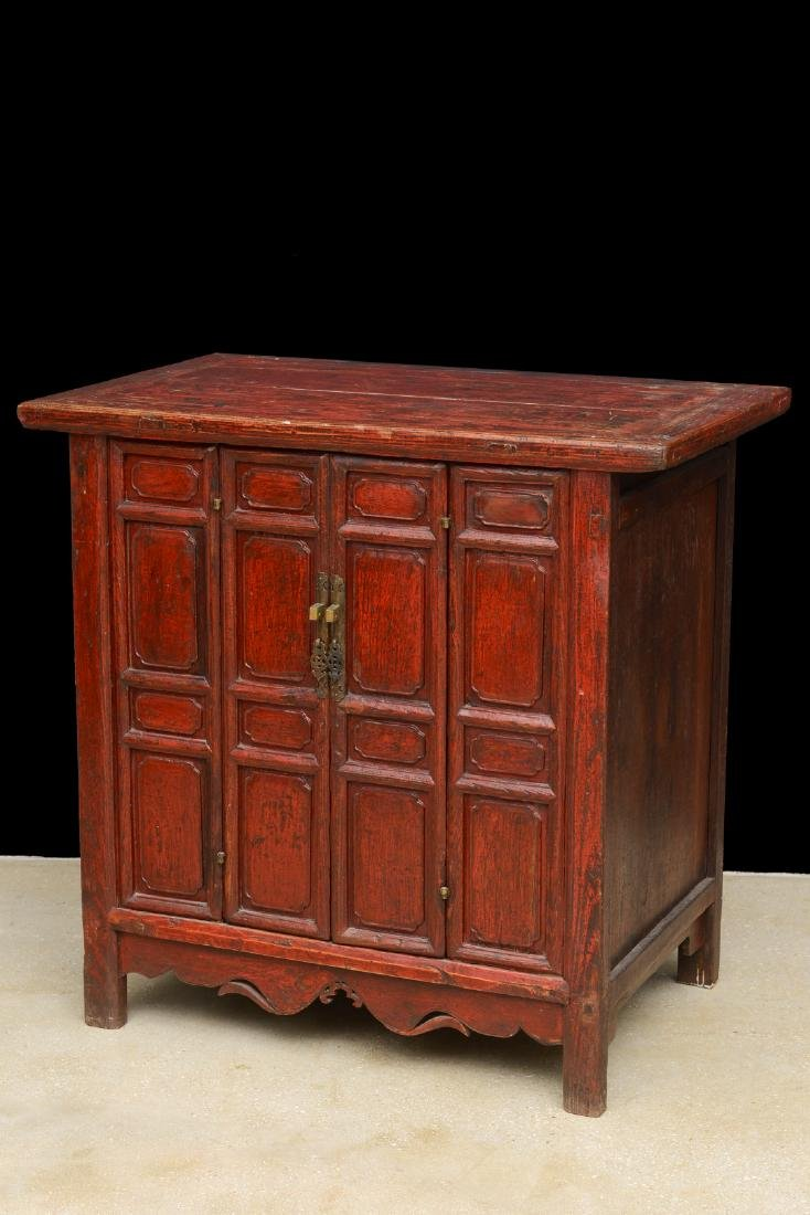 18th Century Antique Red Lacquered 2-Door Chinese