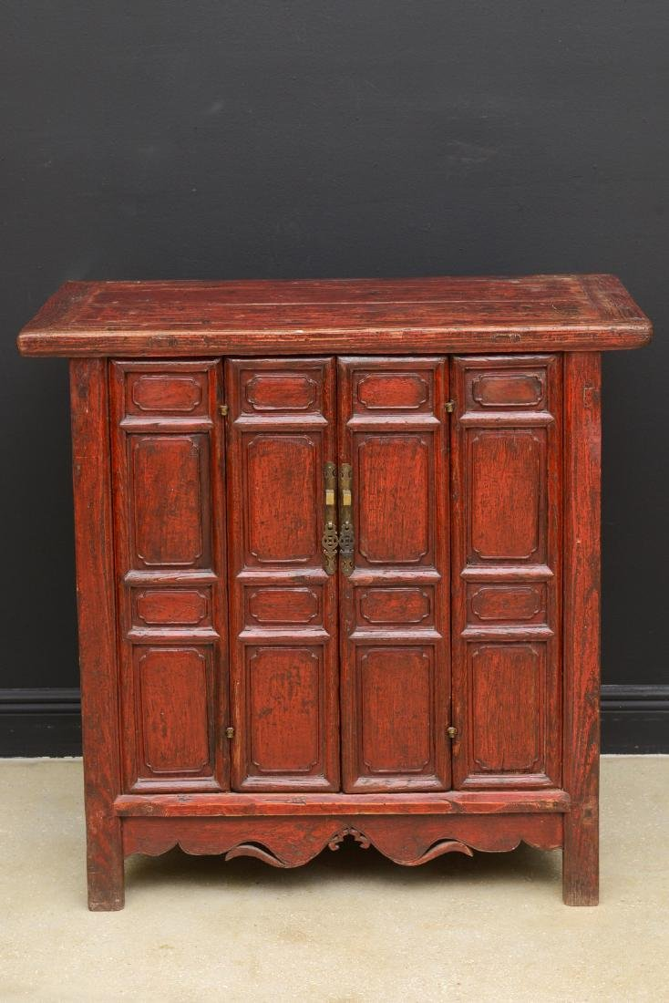 18th Century Antique Red Lacquered 2-Door Chinese - 2