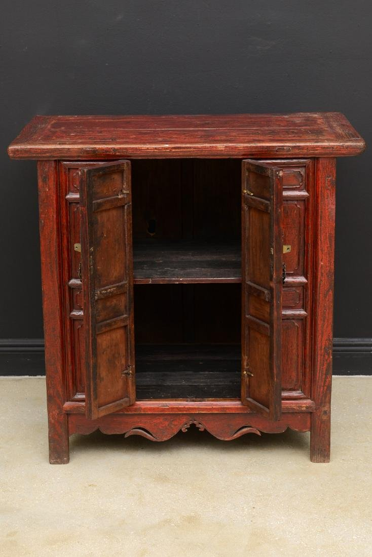 18th Century Antique Red Lacquered 2-Door Chinese - 3