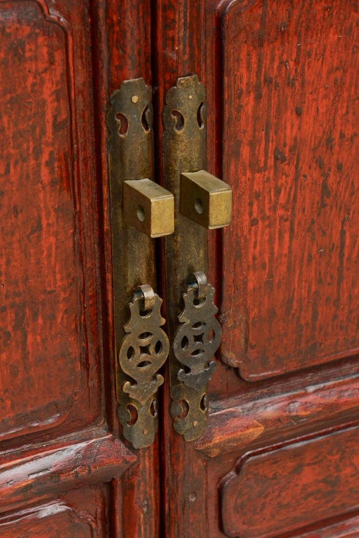 18th Century Antique Red Lacquered 2-Door Chinese - 5