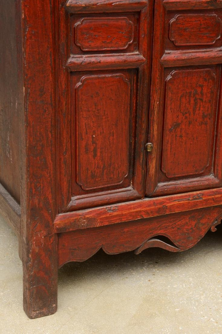18th Century Antique Red Lacquered 2-Door Chinese - 9