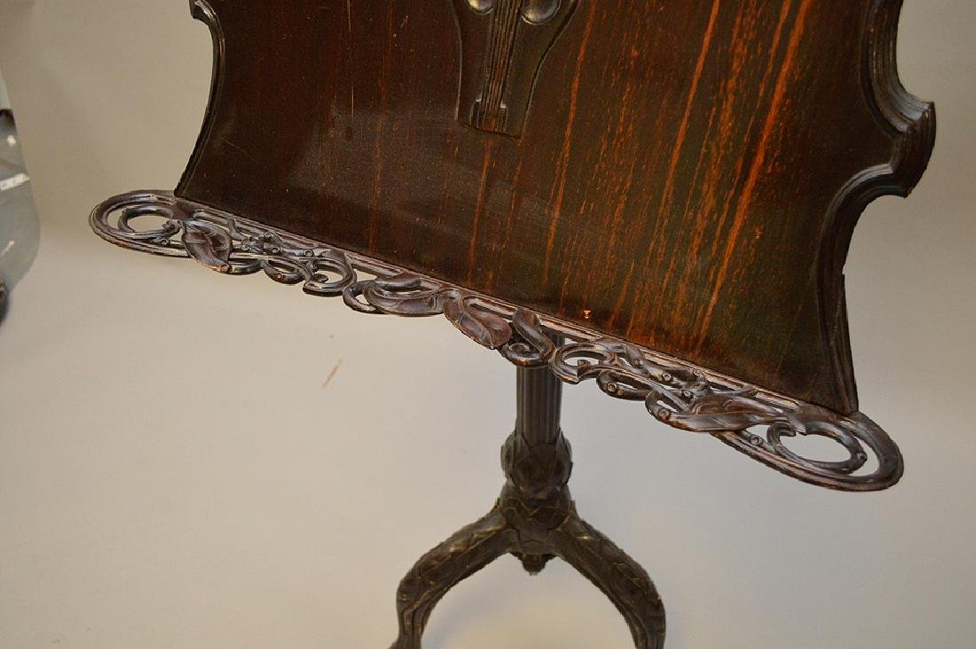 "Carved wood music stand, Art Nouveau, 54"" x 24""w (some - 5"