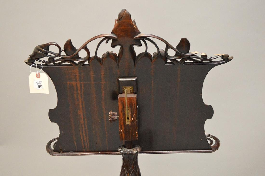 "Carved wood music stand, Art Nouveau, 54"" x 24""w (some - 8"