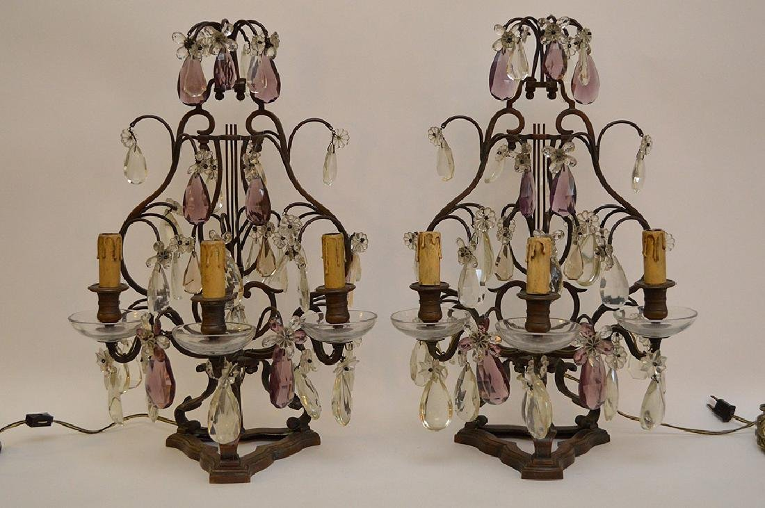 Pair of French Antique Bronze and Amethyst Crystal
