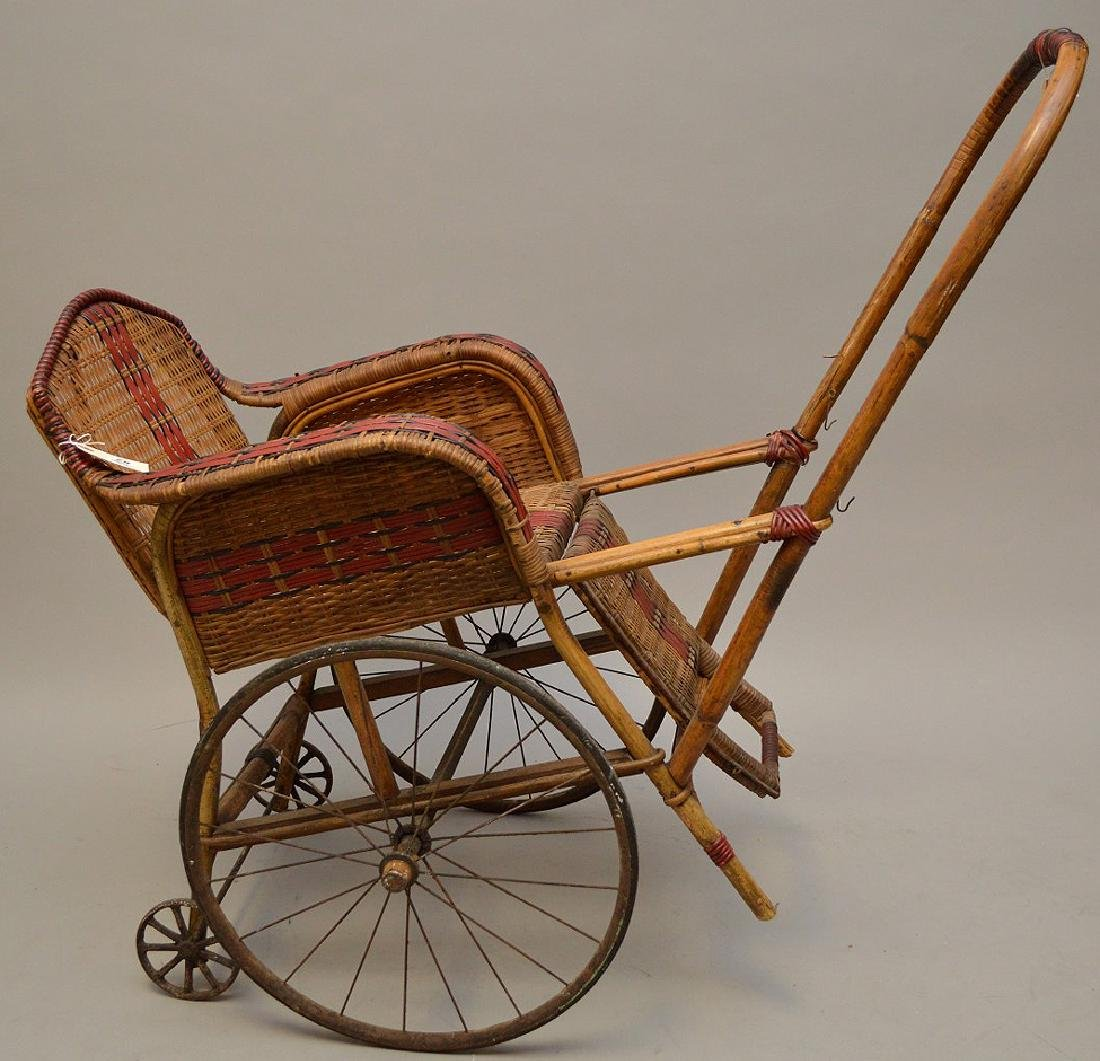 "French Antique ""Pousette"" Bamboo and Rattan Stroller"