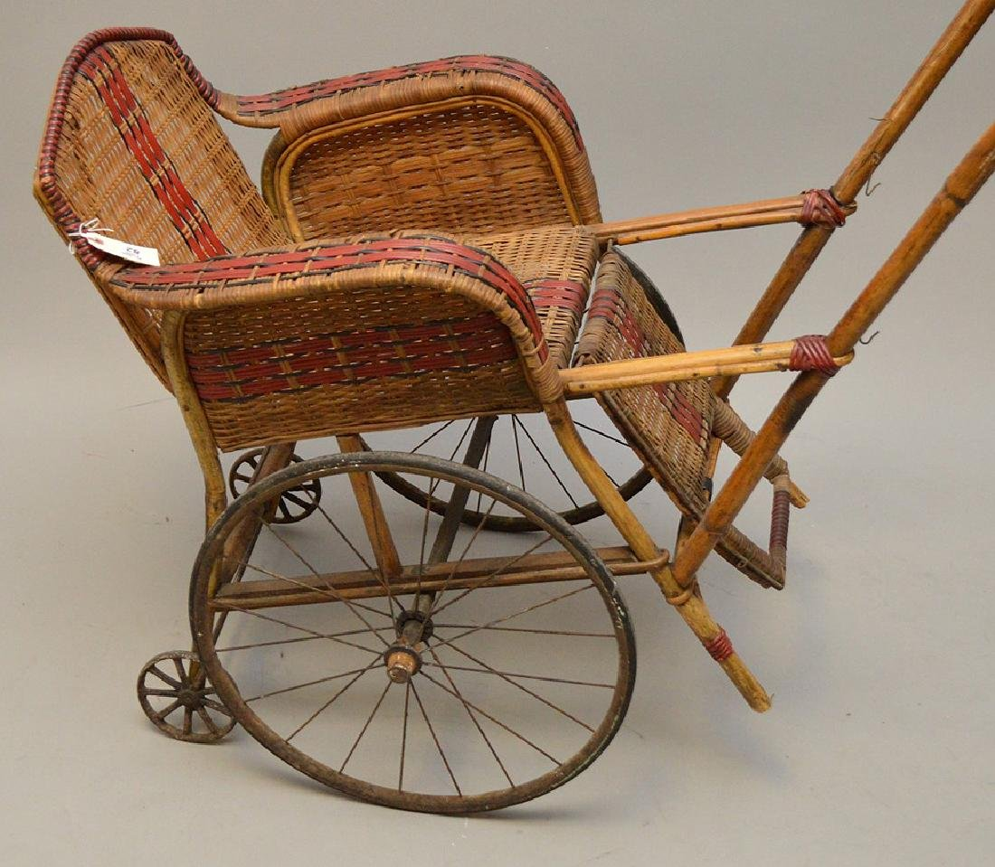 "French Antique ""Pousette"" Bamboo and Rattan Stroller - 2"