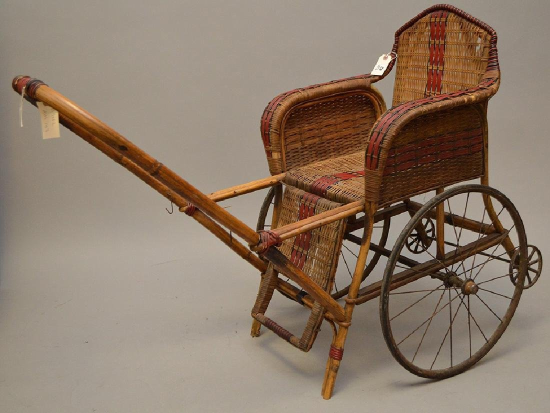 "French Antique ""Pousette"" Bamboo and Rattan Stroller - 3"
