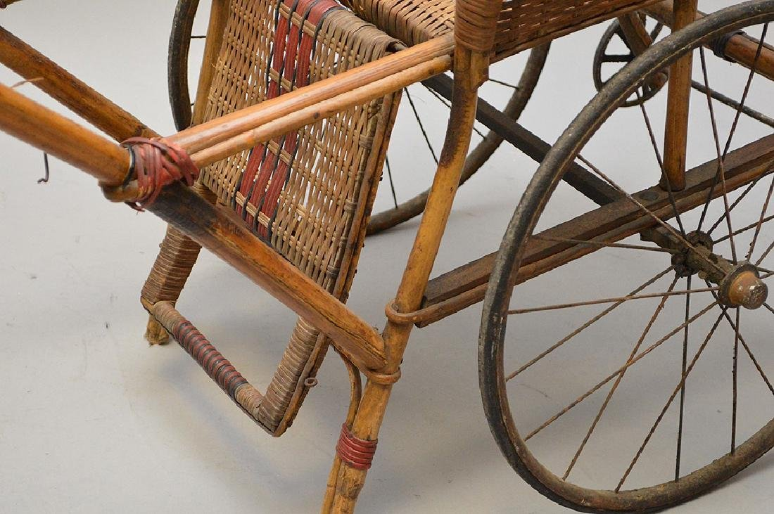 "French Antique ""Pousette"" Bamboo and Rattan Stroller - 4"