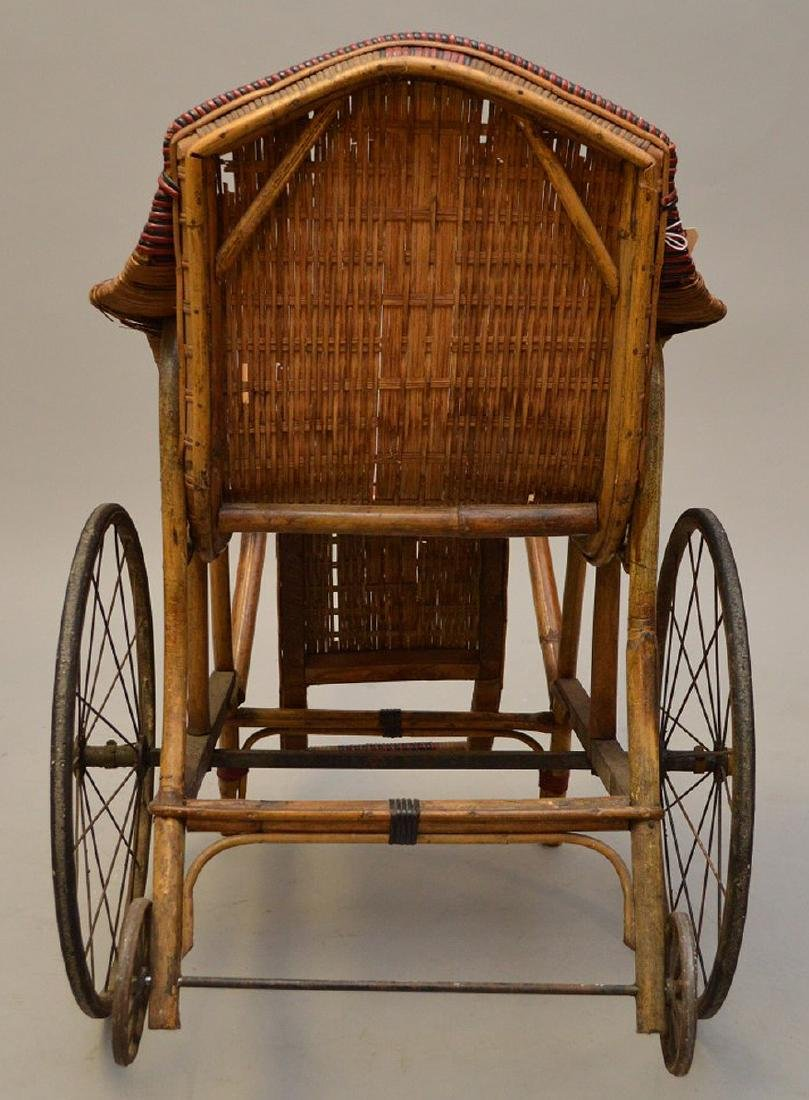 "French Antique ""Pousette"" Bamboo and Rattan Stroller - 5"