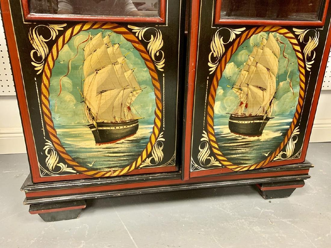 "Antique Nautical Painted Bookcase, England, 1900, 54""h - 6"