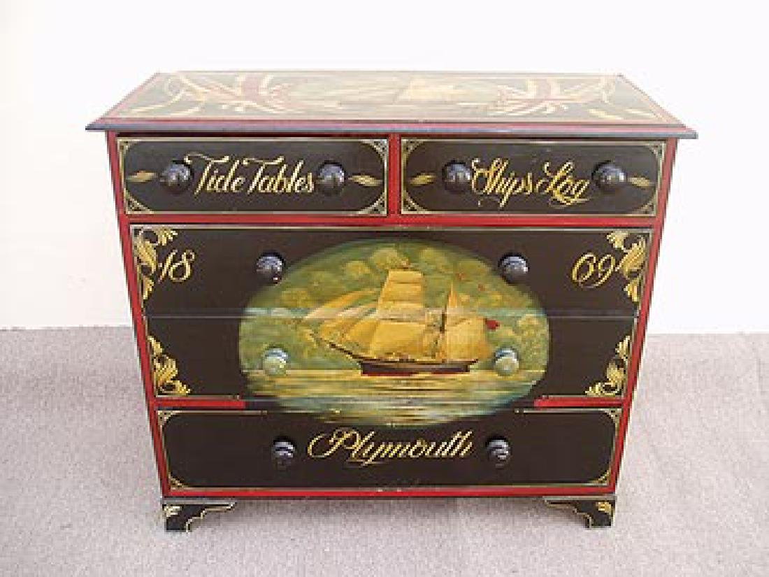 Antique Nautical Painted Chest with 5 Drawers, England,