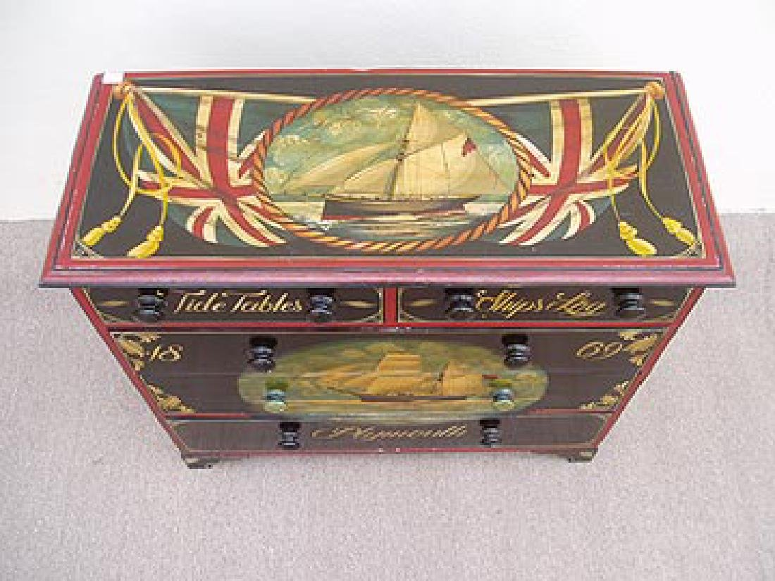 Antique Nautical Painted Chest with 5 Drawers, England, - 4