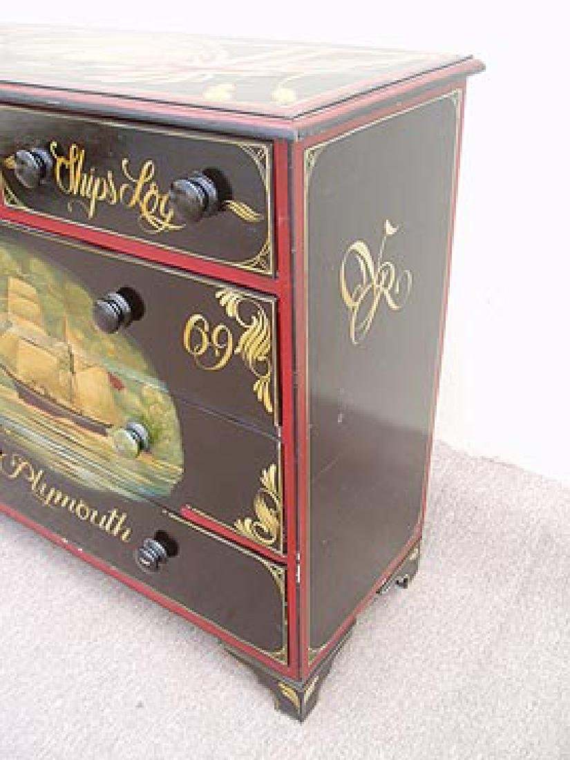 Antique Nautical Painted Chest with 5 Drawers, England, - 5