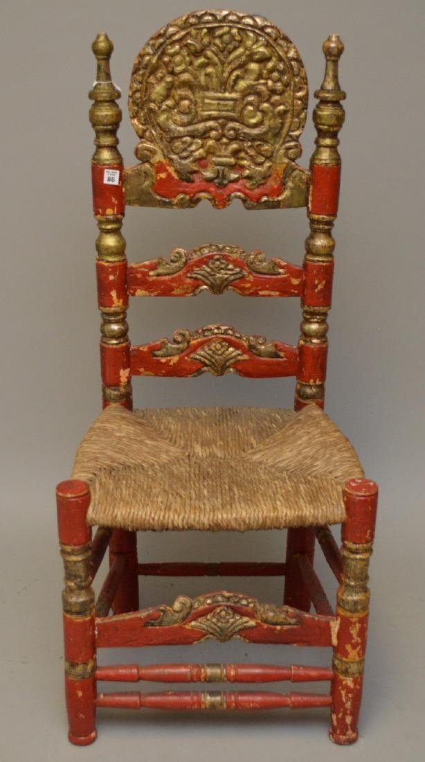 Andalusian Antique Polychromed Rush Seat Chair. Only