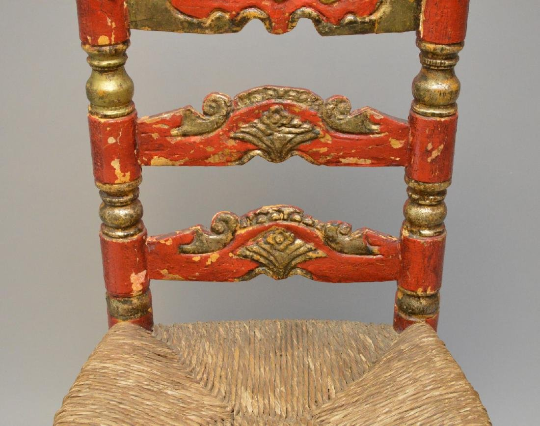 Andalusian Antique Polychromed Rush Seat Chair. Only - 3