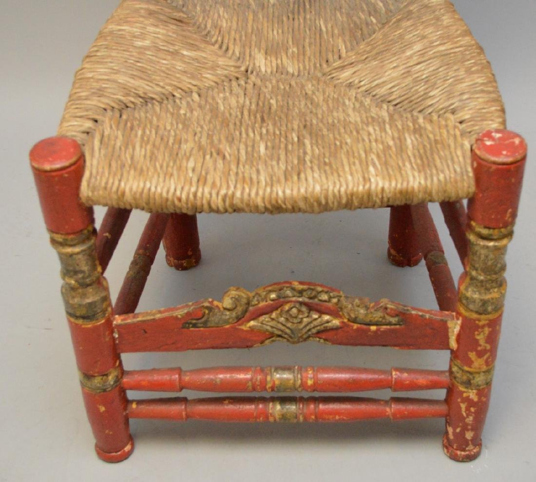 Andalusian Antique Polychromed Rush Seat Chair. Only - 4