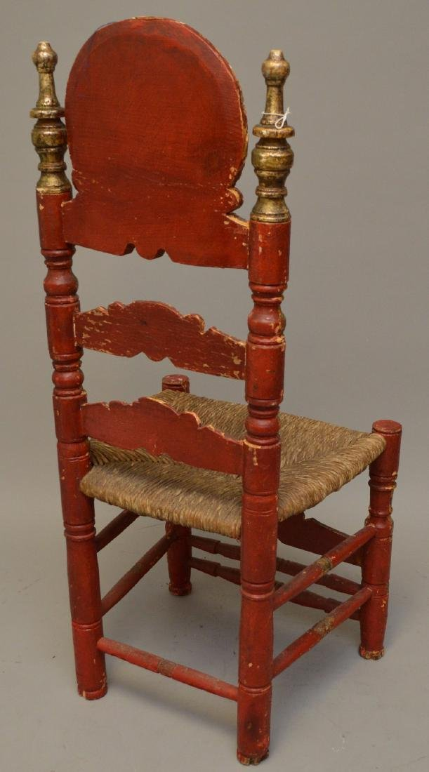 Andalusian Antique Polychromed Rush Seat Chair. Only - 5