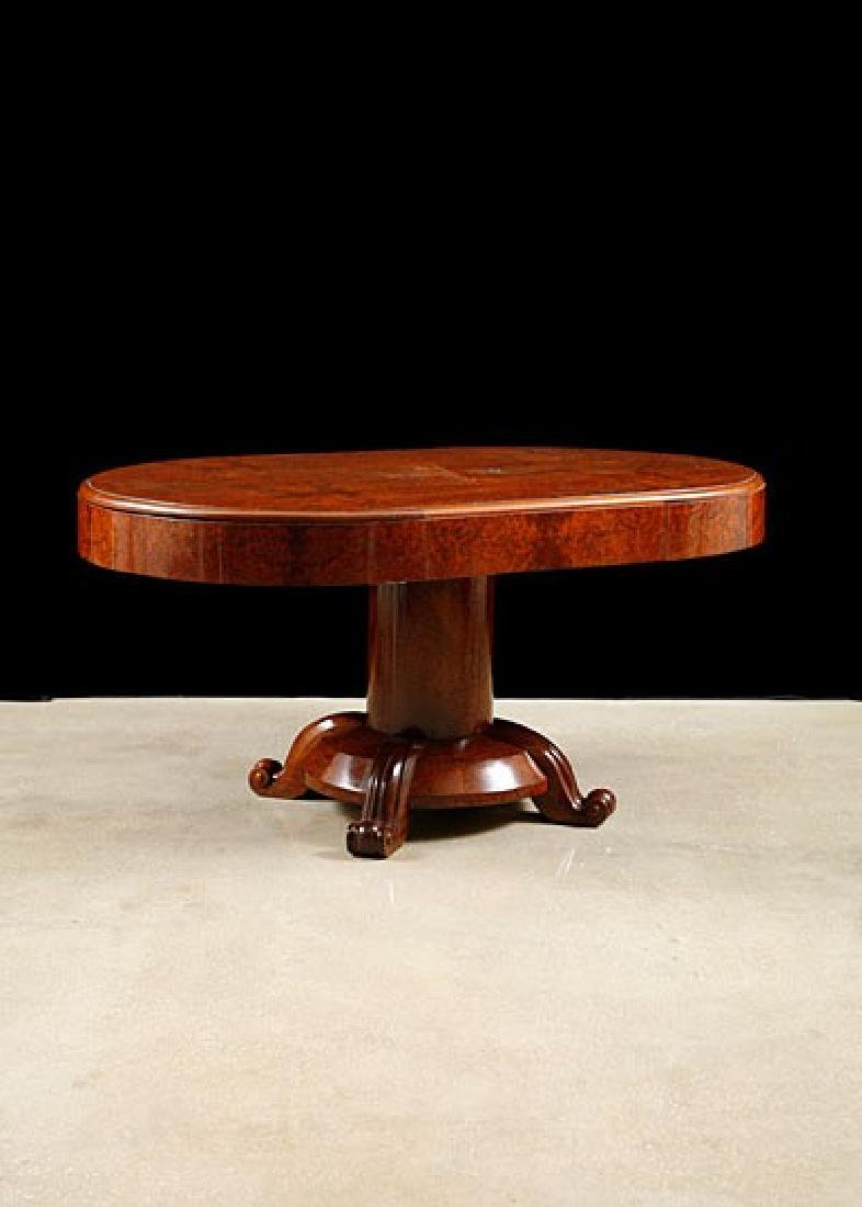 French Art Deco Period Burlwood Dining Table with