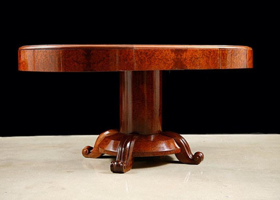 French Art Deco Period Burlwood Dining Table with - 6