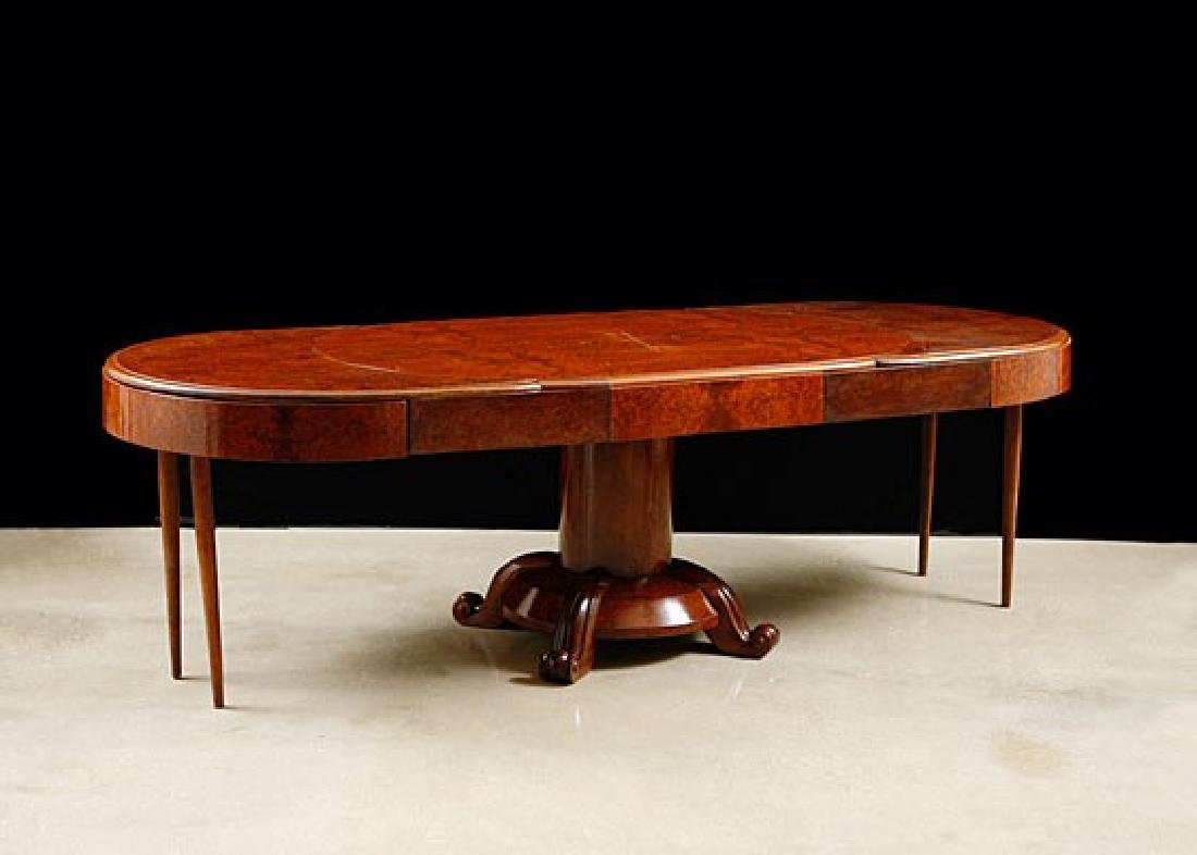 French Art Deco Period Burlwood Dining Table with - 7