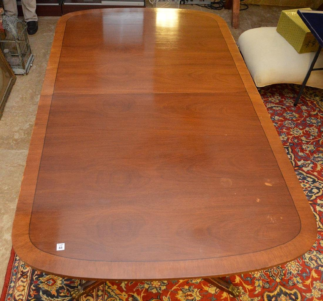 """Mahogany double pedestal banded edge dining table, 29""""h"""
