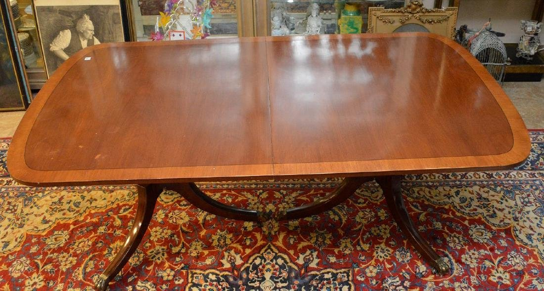 """Mahogany double pedestal banded edge dining table, 29""""h - 2"""