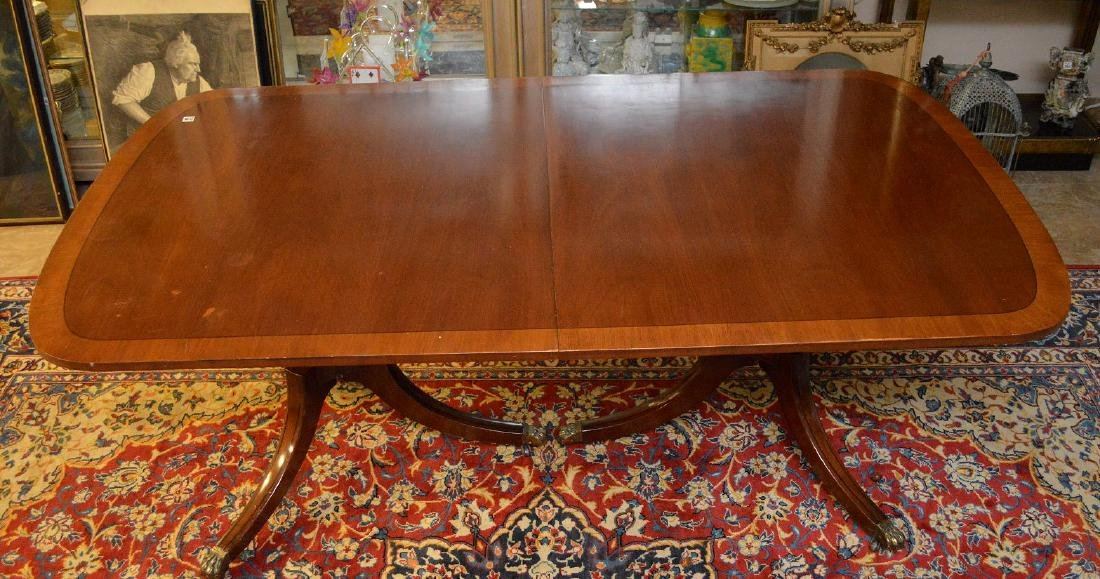 """Mahogany double pedestal banded edge dining table, 29""""h - 3"""