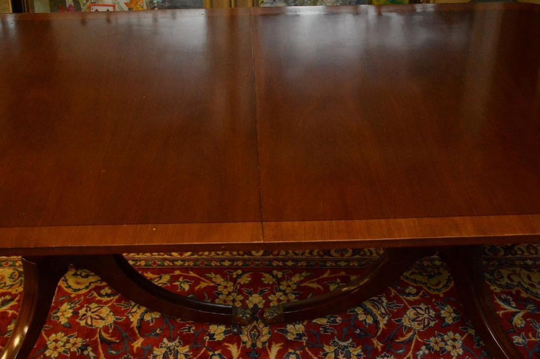 """Mahogany double pedestal banded edge dining table, 29""""h - 4"""