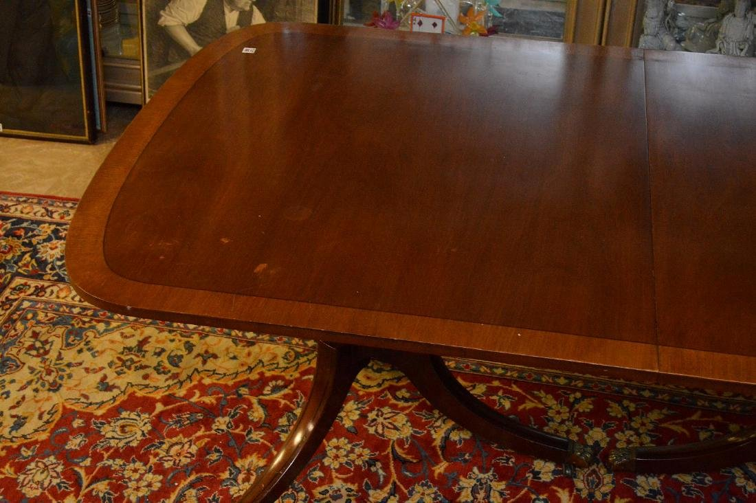 """Mahogany double pedestal banded edge dining table, 29""""h - 5"""