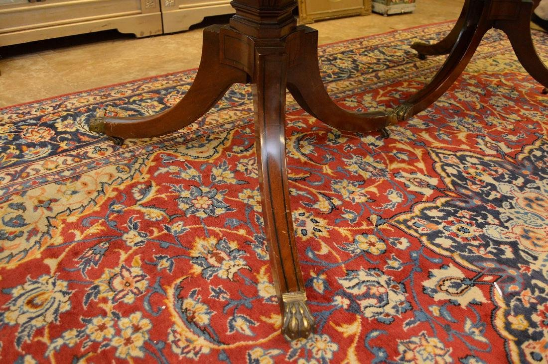 """Mahogany double pedestal banded edge dining table, 29""""h - 7"""