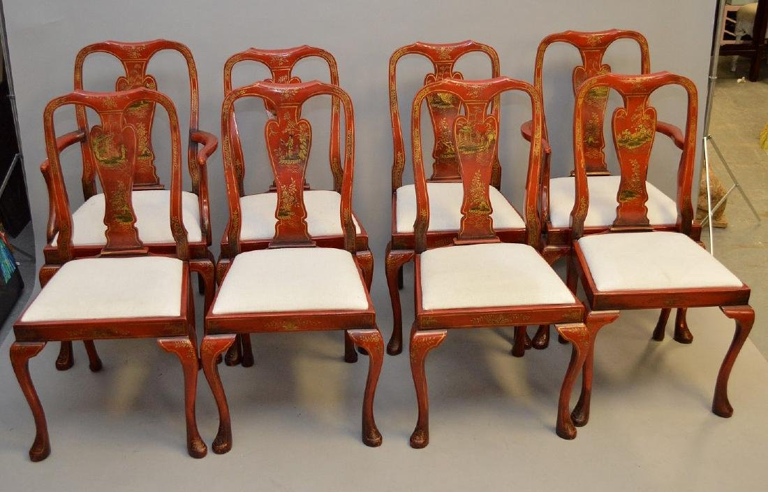 Set of 8 red lacquered Chinoiserie dining chairs