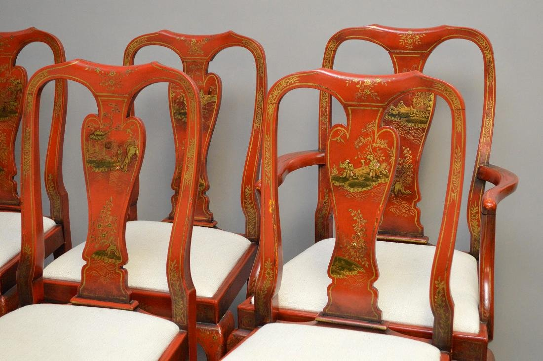Set of 8 red lacquered Chinoiserie dining chairs - 2