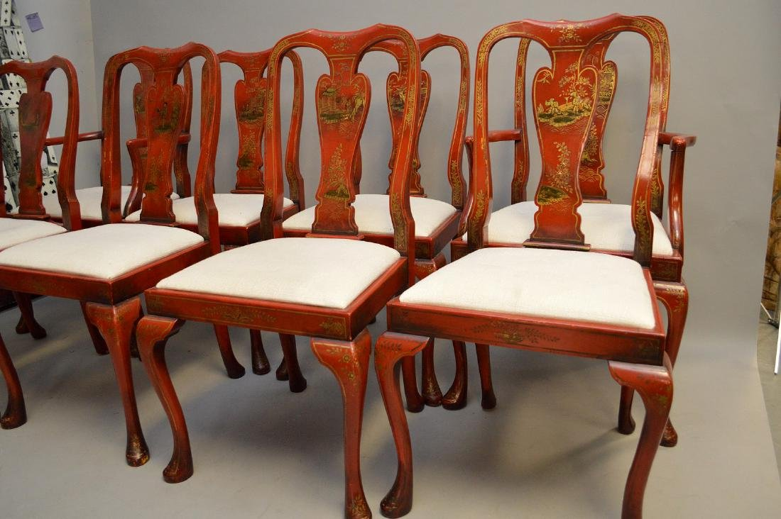 Set of 8 red lacquered Chinoiserie dining chairs - 3