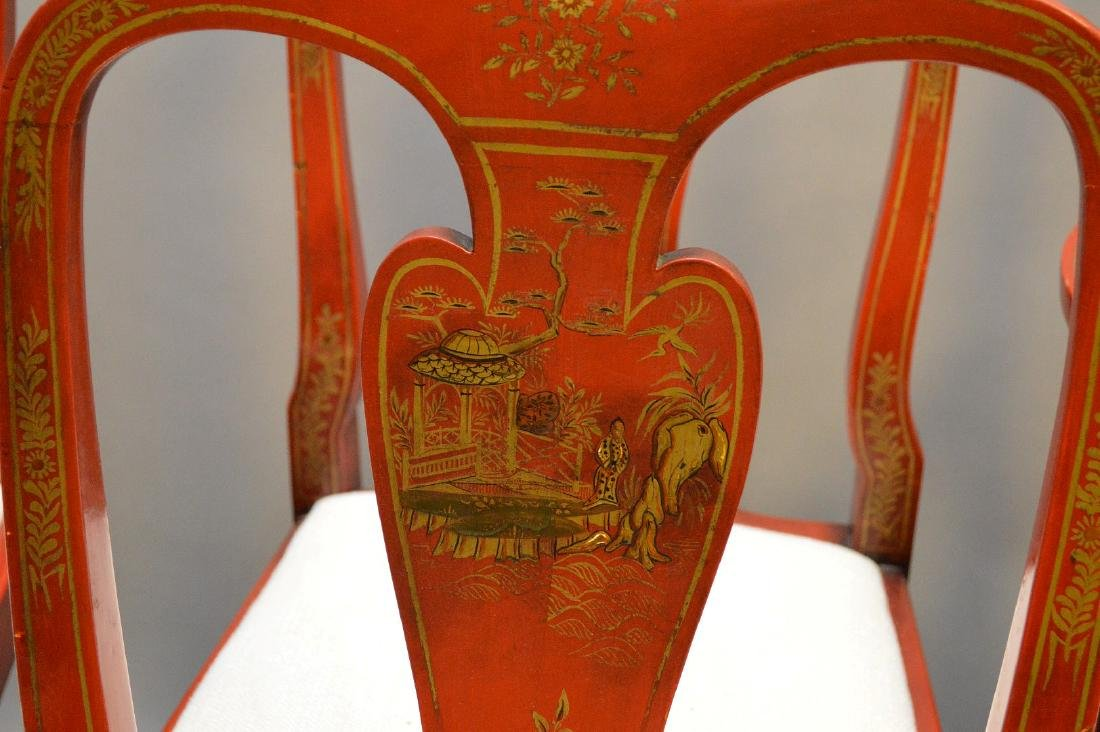 Set of 8 red lacquered Chinoiserie dining chairs - 4
