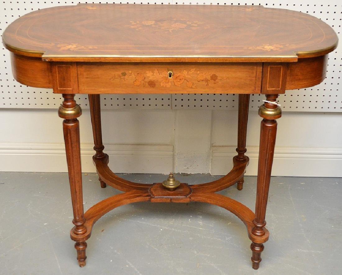 Antique French Napoleon III Period Inlaid Table, circa
